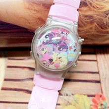 Free Shipping 10 Pcs/Lot Small Order My Little Poly Cartoon Girl's Led Digital Watches With Color Lights Flashing And Calendar