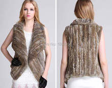 Hot Sale Real SJ074-01 Rabbit Knitted Fur Vests/Customized Size Fur Clothing New Fashion Garments