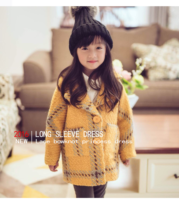 2016 girls autumn spring winter coat baby turn down collar single breasted wool thick outwear children plaid yellow red jacket<br>