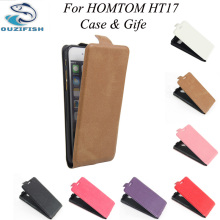 (OUZIFISH)Up-Down Homtom HT17 case cover, Good Quality New Leather Case + hard Back cover For Homtom HT17 Cellphone Case HT 17