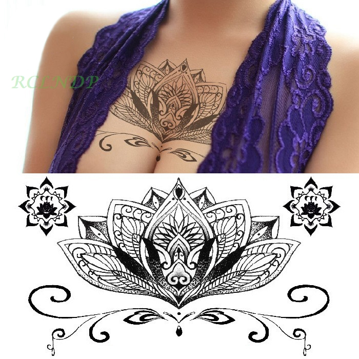 Waterproof Temporary Tattoo sticker lotus totem on breast back mandala large size henna tatto women's flash tatoo fake tattoos 2