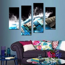 4 Picture Combination Guitar In Blue And Waves Looks Beautiful Wall Art Painting On Canvas Music Pictures For Home Decor Gift