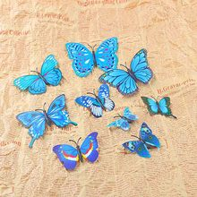 12pcs Colorful 3D Artificial Wire Butterfly Wedding Cake Topper/Home Decoration Event & Party Supplies