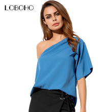 Casual One Off Shoulder Blouse Chiffon Summer Tops Fashion 2017 Short Sleeve Shirts For Women Clothing Elegant Blouses Womens