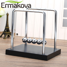 ERMAKOVA Newton's Cradle Balance Ball Classic Toy Wooden Base Newton Cradle Physics Pendulum Science Wave Home Desk Office Decor
