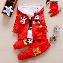 2017 New Chidren Kids Boys Clothing Set thicken Winter 3 Piece Sets Hooded Coat Suits Fall Cotton Mickey Baby Boys Clothes 1-5Y(China)