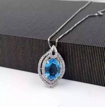 natural blue topaz stone pendant 925 Sterling silver Natural gemstone Pendant Necklace trendy water drop women girl jewelry(China)
