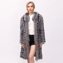 CNEGOVIK Women's hot silver fox fur coat natural long fur coats(China)