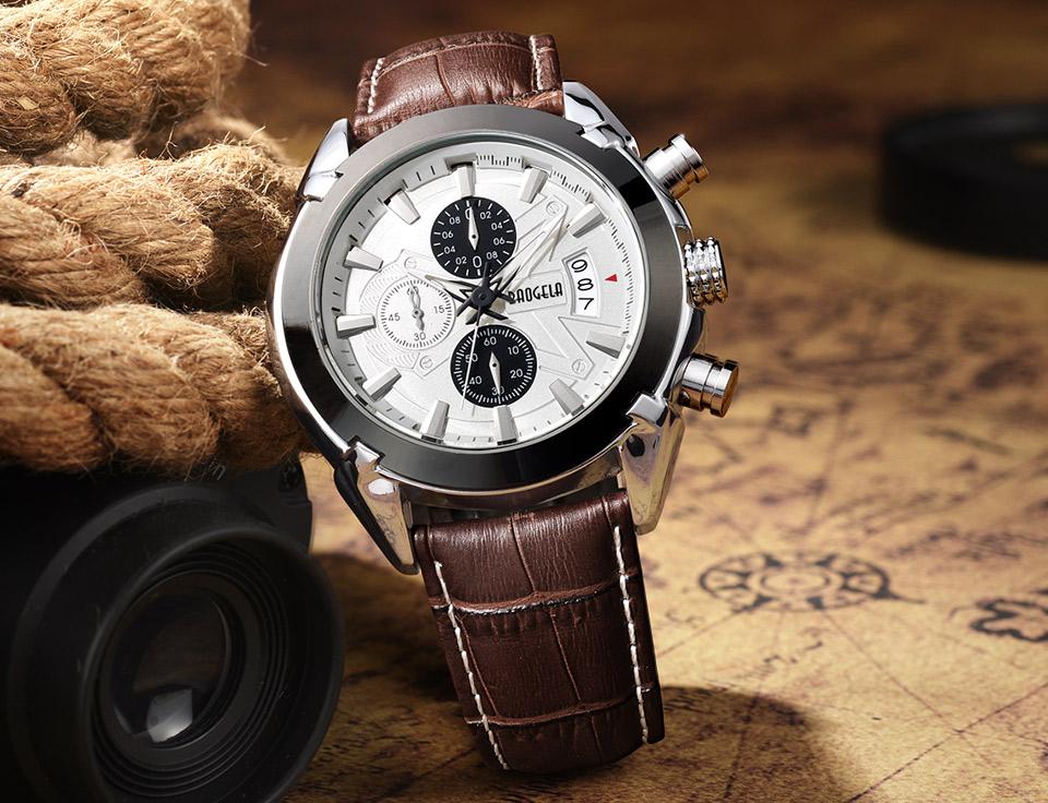 Baogela Mens Chronograph Luminous Hands Date Indicator Fashion Causal Leather Strap Sport Quartz Wrist Watches 9