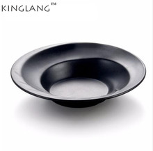 Plastic Melamine Black Color Deep Oval Food Pasta Plate And Bowl(China)