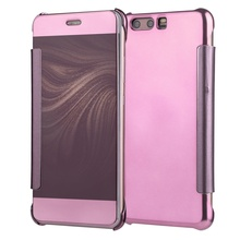 Dulcii For Huawei P 10 Lite Cover fundas capa Electroplating Mirror Surface PC Leather Smart Casing Shell-Rose Gold