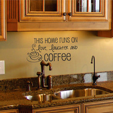 Coffee Wall Decal Kitchen Wall Art Quote Removable Vinyl Lettering Wall Sticker Home Decor Kitchen And Living Room Decorative(China)