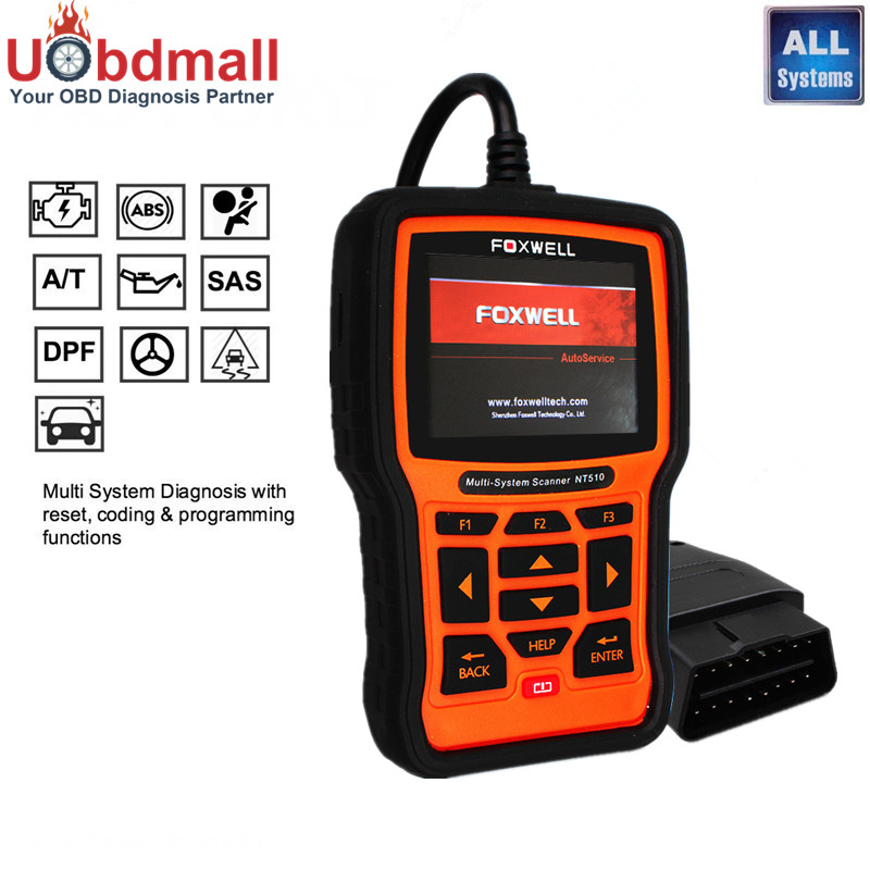 Foxwell NT510 Auto Diagnostic Tool for Chrysler 300C Jeep Wrangler Grand Dodge Journey RAM Full System Code Readers & Scan Tool(China (Mainland))