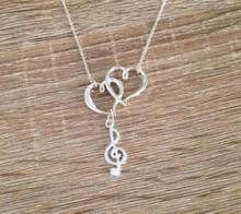 Vintage Silver Treble Clef Double Heart Music Note  Necklaces Pendant Charms Statement Choker Necklaces Women Jewelry Gifts B429