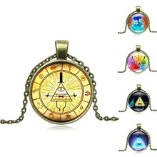 Anime Cartoon Jewelry with Bronze Plated Drama Gravity Falls Mysteries BILL Pattern Glass Cabochon Choker Long Pendant Necklace