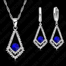 PATICO Awsome 925 Sterling Silver CZ Crystal Rhombus Dark Blue Stone Necklace Earring With Pendant For Woman Jewelry Gift Sets