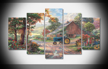 9898 Thomas Kinkade Oil Painting Printed Home Decor with framed art print home decor Rome Decor gallery wrap 5 piece(China)