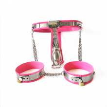 Buy Stainless steel bdsm bondage kit male chastity belt anal plug thigh ring metal chastity device cock cage sex toys men