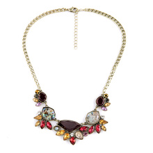 Chic Ladies Collar Jewelry Multicolor Bijoux Charm Necklace Antique Gold Color Imitation Gemstone Necklace
