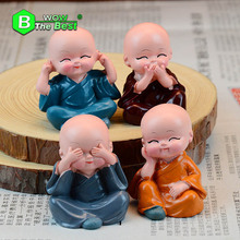 4 pieces/lot Small Buddha Statue Monk,Resin Figurine Crafts Home Decorative,Ornaments Miniatures Crafts Creative(China)