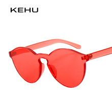 KEHU Transparent frame WOMEN brand circle Colorful Coating SUNGLASSES fashion men fashion glasses Good quality K9284(China)