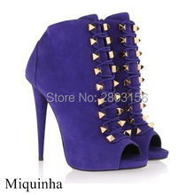 Hot selling fashion suede ankle boots lace up peep toe summer high heels boots studded spike heels shoes woman