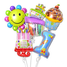 Big Happy Birthday Cake Balloons Foil Ballon Baby Boy Girl Toy Decoration Pink Party Globos Palloncini Anniversaire 1st Number 1(China)