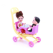 Cute Lovely Mini Doll Furniture Double Stroller Plastic Doll Carts Kid Toys Doll Accessories for Girls best gifts