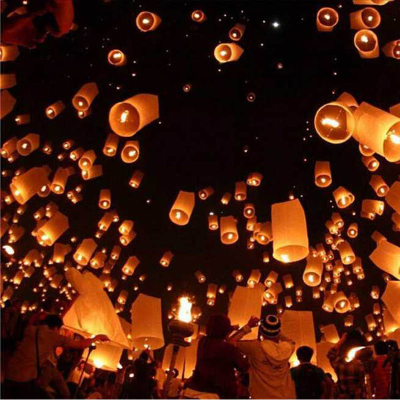 chinese lantern paper lantern 10pcs/Lot wishing light KongMing Candle Powered camping Flying Sky Lantern light(China)