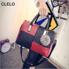 CLELO 2017 New Designer Handbags Women Fashion Pu Leather Patchwork Shoulder Bags Female Handbag High Quality Portable Hot Bag(China)