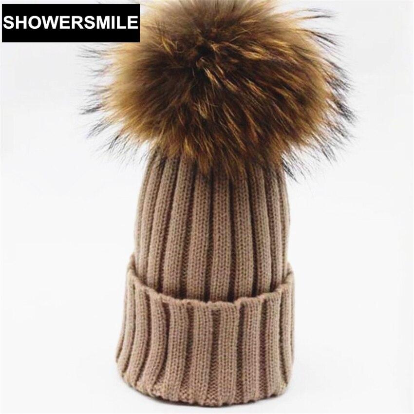 Women Beanies Pom Pom Cap Real Raccon Fur Winter Hats Warm Solid Big Fur Ball 18cm Fashion High Quality Brand Female HatОдежда и ак�е��уары<br><br><br>Aliexpress