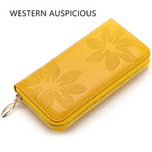 WESTERN AUSPICIOUS Wallet Women Carteras Mujer Cow Leather Outside With Floral Multifunction Sweet Lady Purse Christmas Gifts(China)