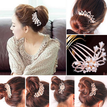 Flower Diamante Hair Clip Comb Rhinestone Pearls Hairpin Wedding Bridal Crystal Diamante Hair Clip Comb Jewel 7 Styles to Choose(China)