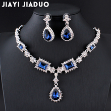 jiayijiaduo Parure bijoux femme Turkish jewelry Bisuteria Silver color Necklace earrings sets Wedding jewelry set Red Jewellery(China)