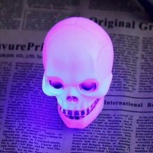 Wholesale 1 pcs change colorful light Flash LED Skull Night Lamp Decoration Gift Favor Worldwide Hot search(China)