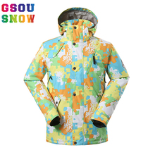 Gsou Snow Brand Ski Jacket Men Waterproof Snowboard Jacket Colorful Skiing Snow Jacket Men Outdoor Sport Coat Size S-XL GS 1400(China)