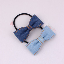 New Classic Blue Jean Cowboy Stereo Bowknot Elastic Hair Bands Denim Ponytail Holder Chirldren Girls Women Barrette Accessories