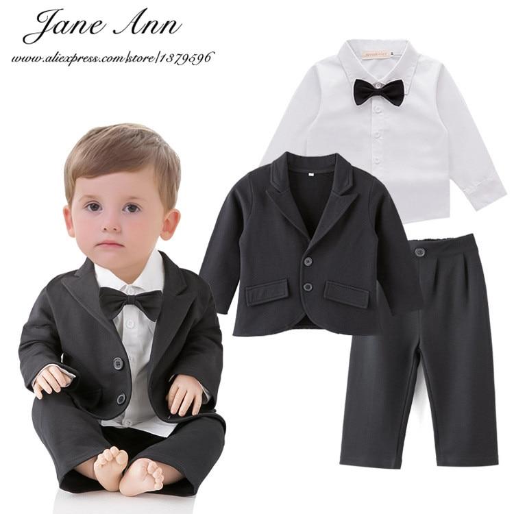 Wedding set toddler boy 3pcs black jacket+pants+white shirt boys gentelman bow tie outfits infant formal suits party clothes<br><br>Aliexpress