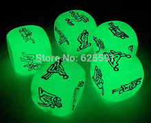 Adult erotic sex dice glowing in the dark,  Sexy game dice  2 pcs with black bag for couple gift