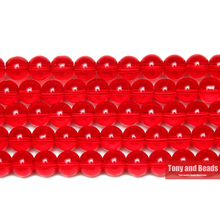 "Free Shipping Smooth Red Glass Loose Beads 15"" Strand 6 8 10 MM Pick Size For Jewelry Making"