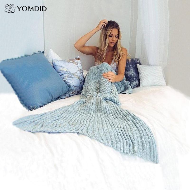 Mermaid Blanket Yarn Knitted Mermaid Tail Blanket Handmade Crochet Very Soft For Home Sofa Sleeping Bag Kids Adults Sleeping Bag<br><br>Aliexpress