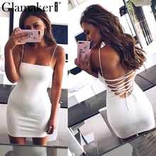 Buy Glamaker Sexy lace backlesss party dress Women suede leather mini dress vestidos Halter bandage bodycon summer dress sundress
