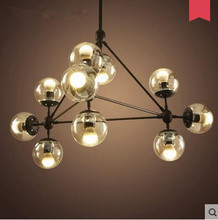 magic beans DNA Lustres wrought iron industrial Cafe project lamps Nordic Art Deco glass ball MOD pendant hanging lights(China)