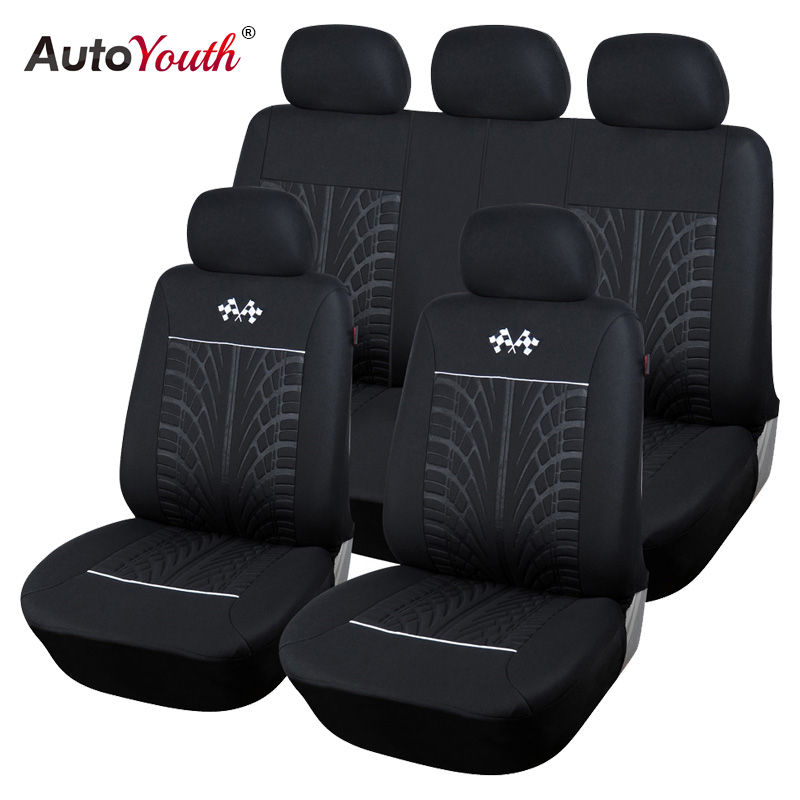 AUTOYOUTH Sports Car Seat Covers Universal Fit Most Brand Vehicle Seats Car Seat Protector Interior Accessories Black Seat Cover<br>