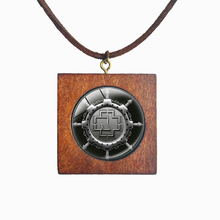 Rock band Rammstein Logo Jewelry Handmade Wooden Square Necklace Glass Retro Pendant For Fans Lucky Talisman Amulets Charm