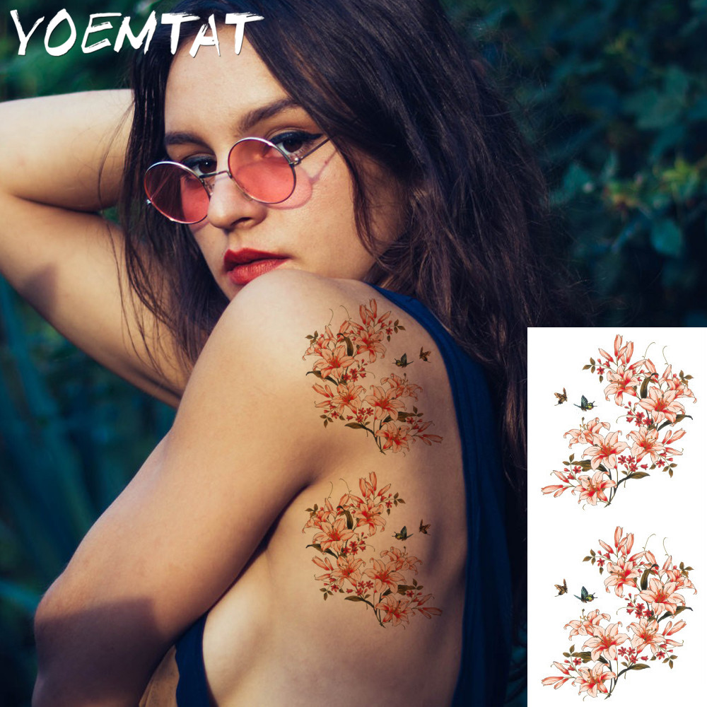 25 style flower arm shoulder tattoo stickers flash henna tattoo fake waterproof temporary tattoos sticker women 13