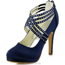 Women High Heel Shoes Cross Strap Zip Rhinestones Platform Satin Bridesmaids Wedding Evening Party Pumps EP11085 Navy Blue Teal