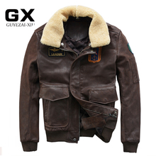 2016 New Men Pilot Leather Jacket Black Wool Collar Genuine Cowskin Slim Fit Male Winter Aviator Military Coat FREE SHIPPING