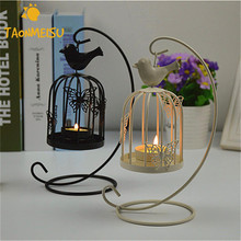 Creative Birdcage Candlestick Hanging Design Iron Bird Cage Candle Holder for Wedding Party Home Decoration Mariage Candlebros(China)