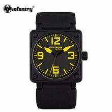 INFANTRY Mens Watches Square Face Hot Sale Military Army Quartz Watch Black Rubber Strap Sports Watches Relogio Masculino(Hong Kong,China)